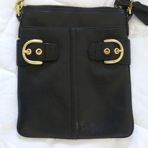COACH CROSSBODY LEATHER BAG CLOTH STRAP